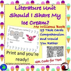 "This is a language arts book study, using the Mo Willems book ""Should I Share My Ice Cream?"" Teaching young students to think and make connections as they read. Also to introduce them to critical thinking and making choices skills by ""Would you rather"" Tasks; these are supported with an image.There is a QR Code for the text.These tasks require students to make connections (Text to Self; Text to Text; Text to World)There are also tasks encouraging Close Reading Skills and higher order…"