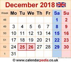 December Calendar 2018 Uk December 2018 Calendar Uk Pinterest