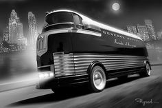 The GM Futurliners were a group of stylized buses designed in the 1940s by Harley Earl for General Motors. They were used in GM's Parade of Progress, which traveled the United States exhibiting new cars and technology. The Futurliners were used from 1940 to 1941 and again from 1953 to 1956. A total of 12 were built, and 9 were still known to exist as of 2007. art by: Flyrod