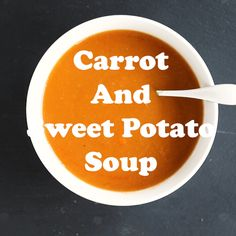 This is a deliciously easy carrot and sweet potato soup recipe and how to video you'll want to add t No Calorie Foods, Low Calorie Recipes, Low Calorie Soups, Filling Low Calorie Meals, Sweet Potato Carrot Soup, Tasty Videos, Quick Healthy Meals, Carrots And Potatoes, Healthy Soup Recipes