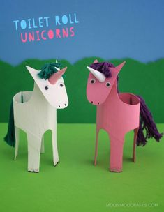 Toilet Roll Unicorns - add wings to make Pegasus!! such an engaging TP Roll craft for girls, sure to ignite hours of fantasy pretend play :) #happyhandmade @thecrafttrain #artsandcraftsforchildren,