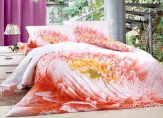 Beautiful Dahlia Flower Print 4-Piece Duvet Cover Sets