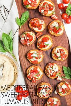 This Mediterranean Sweet Potato Hummus Bites recipe is the easiest, most flavorful 6-ingredient appetizer recipe out there. Healthy, fast, & delicious!