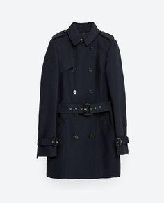 Size: S NAVY COTTON TRENCH COAT from Zara