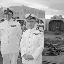 Admiral Sir Tom Phillips (right), commander of Force Z, and his deputy, Rear Admiral Arthur Palliser, on the quayside at Singapore naval base, 2 December 1941