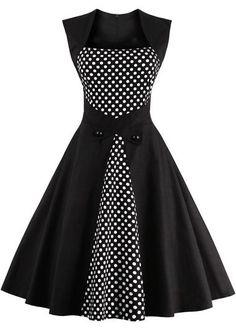 Black Polka Dot Print Sleeveless A Line Dress on sale only US$28.85 now, buy cheap Black Polka Dot Print Sleeveless A Line Dress at liligal.com