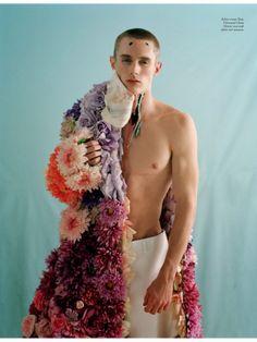 Ervin wearing Don Giovanni's faux flower coat by Tim Walker, Love Magazine, Spring 2014.