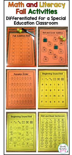 Math and Literacy Activities! These fall math and literacy activities are engaging and fun for your student to practice math and literacy! Great for general education and special education students! Differentiated to meet each of your students levels!