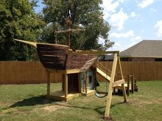 Of course, a treasure chest cooler needs a backyard pirate ship playground. | 21 Awesomely Geeky Household DIY Projects