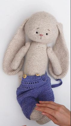 Crochet Pattern pdf Outfit Overalls for Bunny Toys by PolushkaBunny Diy Crochet Doll, Crochet Doll Tutorial, Crochet Bunny Pattern, Crochet Baby Toys, Crochet Rabbit, Crochet Teddy, Crochet Animal Patterns, Crochet Patterns Amigurumi, Crochet Animals