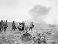 First Battle of Bapaume (Operation Michael). A 60 pounder Mark II battery of the Royal Garrison Artillery in action in the open near La Boisselle. The village was re-captured by the Germans from the British, March — in La Boisselle. Ww1 History, Military History, British American, British Army, World War One, First World, Spring Offensive, Bad Picture, German Army