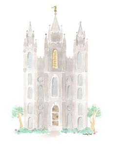 Salt Lake Temple Watercolor (Digital File) on Etsy, $8.00