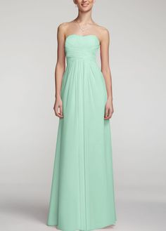My bridesmaid dresses, ordering them in the new color tickle! A look and feel that your bridesmaids will love, this long and flowy chiffon dress will set your bridal party apart from the rest! David's Bridal Bridesmaid Dress Style in Petal. Davids Bridal Bridesmaid Dresses, Junior Bridesmaid Dresses, Junior Dresses, Wedding Dresses, Bridesmaid Hair, Wedding Attire, Wedding Bridesmaids, Chiffon Dress, Strapless Dress Formal