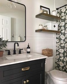 Purposeful Design + Thoughtful Living: Explore inspiring spaces from our community and share your own with Diy Bathroom Remodel, Bathroom Renos, Bathroom Interior, Bathroom Remodeling, Bathroom Beadboard, Restroom Remodel, Bathroom Mirror Shelves, Decorating A Bathroom, Budget Bathroom Makeovers