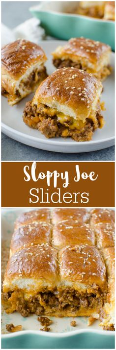 Sloppy Joe Sliders - an easy way to serve sloppy joes to a crowd! Sloppy joe meat and cheddar cheese on Hawaiian rolls and covered in the most delicious glaze. Great for a weeknight dinner, a party, or tailgating!
