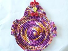Crocheted Chicken Pot Holder/Hot Pad in by ACozyCrochet on Etsy, $15.00 #pcfteam