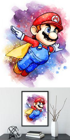 This item is unavailable Disney Drawings, Cute Drawings, Bolo Do Mario, Nursery Wall Art, Nursery Decor, Wallpaper Kawaii, Mario E Luigi, Super Mario Art, Pinturas Disney