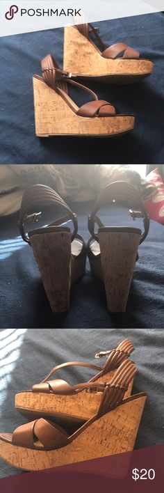 Forever 21 Brown Cork Wedges Bought last year and only wore once. Size 7 and fit true to size. Very comfortable Forever 21 Shoes Wedges