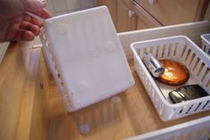 Use velcro dots to keep drawer organizers from sliding around ~ need this for our silverware and junk drawers Organisation Hacks, Life Organization, Organizing Tips, Bathroom Organization, Junk Drawer Organizing, Do It Yourself Camper, Do It Yourself Organization, Rv Storage, Storage Hacks