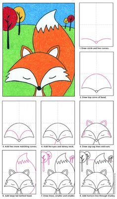 Karikatur-Fuchs-Diagramm 700 cartoon kids Cartoon Fox · Art Projects for Kids Cute Fox Drawing, Drawing For Kids, Art For Kids, Drawing Drawing, Drawing School, Learn Drawing, Kids Fun, Cool Cartoon Drawings, Easy Drawings