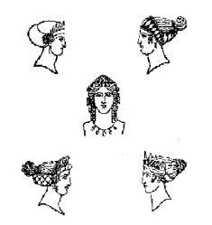 Las mujeres se teñían el pelo para parecer rubias, porque éste era el color más apreciado. También se utilizaban postizos y pelucas. Las cortesanas utilizaban unos maquillajes más llamativos. Las mujeres utilizan las navajas para el vello, y se depilaban con el candil o por medio de pastas especiales.
