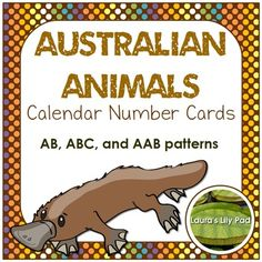 Australian Animal Calendar Number Cards with AB, ABC, and AAB patterns including kangaroo, koala, dingo, echidna, platypus
