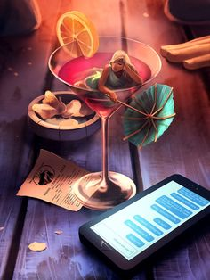 Drink time by AquaSixio (Cyril Rolando), a self-taught French artist creating 'otherwordly' art