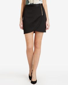 Textured wrap mini skirt - Black | Skirts | Ted Baker ROW