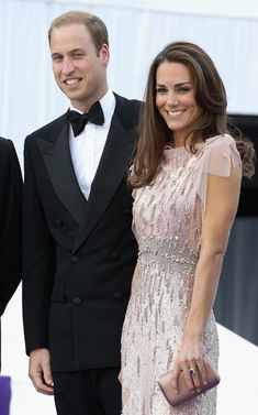 Kate Middleton in a rose-sequined Jenny Packham dress