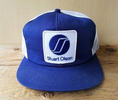 ead45c69f9add6 Vtg 80s STUART OLSON Construction Mesh Trucker Hat K Brand Snapback Cap  Canada #KBrand #