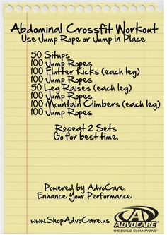 Abdominal Crossfit Workout. Use a jump rope or jump in place.  Record your time.     Use safe products from AdvoCare to improve your performance and overall health. www.ShopAdvocare.us