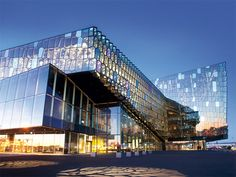 Harpa - Reykjavík concert hall and conference centre Facade Olafur Eliasson - with Variotrans Colour effect glass night effect