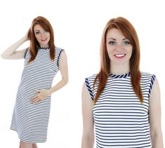 60s Sailor Dress Mod Navy Blue White Stripes by neonthreadsdesigns, $45.00