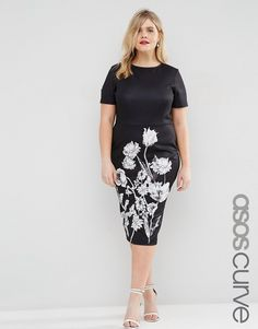 d9aa2538e0b ASOS CURVE Mono Floral T-Shirt Dress Floral Plus Size Dresses