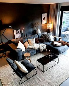 Dark Living Rooms, Living Room Decor Cozy, Boho Living Room, Home And Living, Bedroom Decor, Manly Living Room, Masculine Living Rooms, Living Room Colors, Living Room Modern