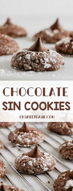 One of my dear friends gave me this recipe for Chocolate Sin Cookies and I was totally shocked when I saw that these cookies were made with olive oil! #chocolate #cookies #oliveoilcookies #oliveoil #dessert #recipe #healthydessert #healthyrecipe Quick Cookies, Fancy Cookies, Homemade Cookies, Healthy Cookies, Yummy Cookies, Bar Cookies, Healthy Chocolate Cookies, Kiss Cookies, Decadent Chocolate
