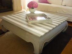 Table basse relookée avec rayures