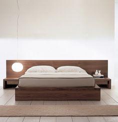 Pur dodo #HabitacionesMatrimonialesParedes Wood Bed Design, Bed Frame Design, Bedroom Bed Design, Modern Bedroom Decor, Bedroom Furniture Design, Bed Furniture, Double Bed Designs, Platform Bed Designs, Minimalist Bed