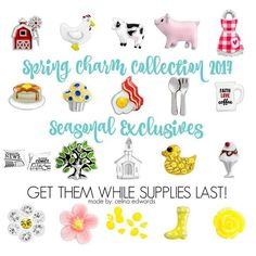 Origami Owl Spring #farm #animals #cooking #muffin #apron #pancakes #flowers