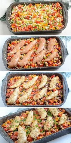 Juicy chicken fillets in dish with cauliflower rice, vegetables and lovely spices that add lots of flavor. Perfect for easy and healthy use. Food C, Vegetarian Recipes, Healthy Recipes, Dinner Is Served, Fabulous Foods, Cauliflower Rice, Easy Cooking, Dinner Tonight, I Love Food