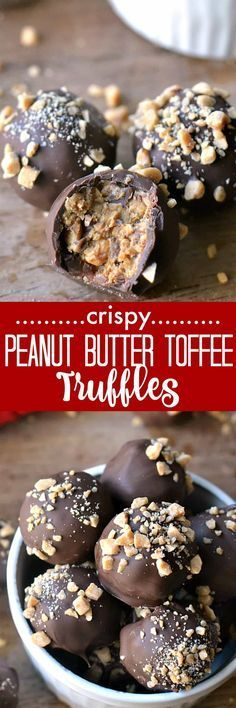 Crispy Peanut Butter Toffee Truffles are a perfect addition to your holiday treats. These light, crispy, melt-in-your-mouth peanut butter toffee truffles are coated in rich milk chocolate and topped with crushed toffee bits. Holiday Desserts, Holiday Baking, Just Desserts, Holiday Recipes, Delicious Desserts, Yummy Food, Tasty, Paleo Dessert, Holiday Treats