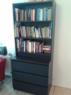Image result for malm night table with billy bookshelves