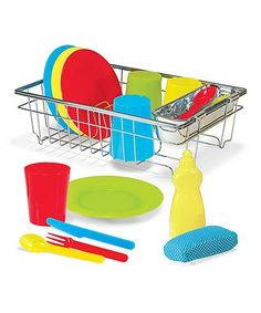 Play pretend with toys that feel like the real-deal, and learn just how much goes into a meal by washing this play dish set. CHOKING HAZARD: Small parts. Not for children under 3 yearsCalifornia customers, clickfor important Prop 65 information
