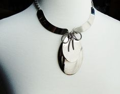 Vintage Silver Tie Pendant Necklace costume jewelry by WellOwlBee, $28.00