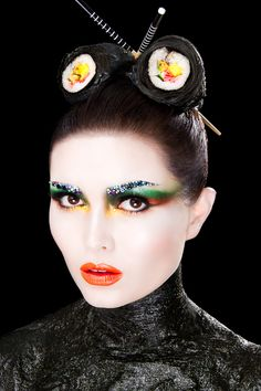 So cool! Real seaweed  My Food Project!    'Sushi' Make-up  Hair Shoot  Using Real Sushi  Sea Weed(body)     Photographer: Rich Hinton   Model: Melissa Hargreaves from Alpha Agency  Make-up : Karla Powell (me)  Assistant: Grace Coole Green