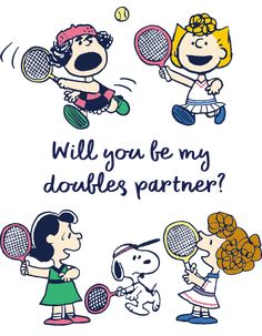 Will you be my doubles partner? School Days Images, Tennis, Lucy Van Pelt, Charlie Brown And Snoopy, Peanuts Snoopy, Funny Cartoons, Minions, Stickers, Illustration