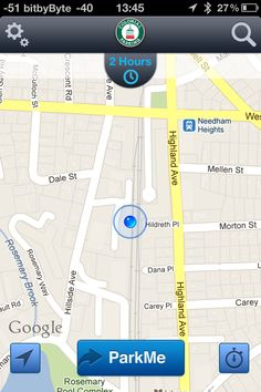 Convergence on main screen - Meter's time displayed (Colonial Parking app)