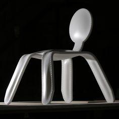 "Rachel Harding's Corian chair is inflated ""like a balloon"""