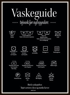 Vaskeguide - sort Home Organisation, First Apartment, Cleaning Checklist, Moving Out, Clever Design, Dream Decor, Home Hacks, Hygge, Good To Know