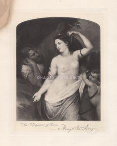 Judgment Of Paris-Beautiful Nude Woman-Greek Mythology-Goddess-Trojan War-Zeus-Helen Of Troy-1881 Antique Vintage Art Print-Gothic Picture